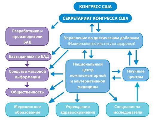Схема взаимодействия и координации нескольких структур, находящихся под эгидой Конгресса США